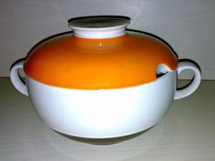 Vintage 70s 80s Eschenbach Bavaria Suppentopf Terrine Porzellan Design * Orange