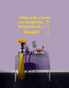 Wall Vinyl Decal Sticker Removable Room Window Beauty Salon Shop Quote Beautiful Woman TK290