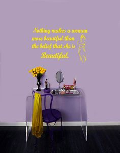 Wall Vinyl Decal Sticker Removable Room Window Beauty Salon Shop Quote Beautiful Woman TK290