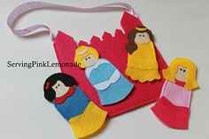 felt princess finger puppets and castle carrying case, free templates included