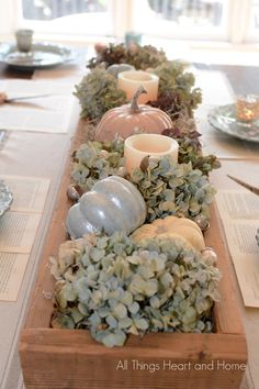 White pumpkins and hydrangea centerpiece