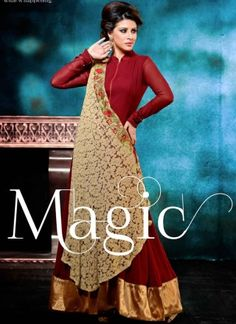 Magical Maroon Embroidery Work Fancy Georgette Gown