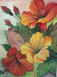 Flower drawing, watercolor flowers, flower art, watercolor paintings, f Watercolor Flowers, Watercolor Art, Arte Floral, Hibiscus Flowers, Yellow Flowers, Red Tulips, Colorful Flowers, Flower Wallpaper, Fabric Painting