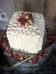 Raw and vegan chocolate, vanilla and peanut butter layer cake with white frosting