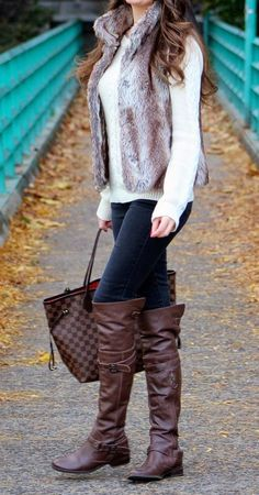 206cfab42 Fall style: faux fur vest, louis vuitton neverfull tote bag, over the knee  leather boots. Fur vest is a yes