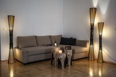 Floor lamp Wood bamboo lamp bamboo furniture rustic by bamboobg