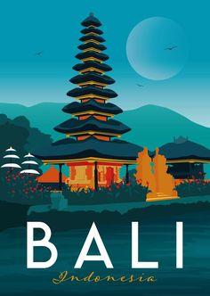 Bali Travel Poster Print Indonesia Vintage Memento Souvenir Gift Poster Artwork Digital Art Travel Illustration Made in the UK Art And Illustration, Illustrations Posters, Poster Retro, Vintage Travel Posters, Posters Decor, Art Et Design, Kunst Poster, Plakat Design, Poster City