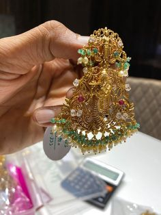 Extraordinary ram Parivar pendant in nakshi work studded with mossainites and south sea pearls hangings.Huge pendant with pure handcrafted workmanship suitable for all occasions. Fancy Jewellery, Gold Jewellery Design, Temple Jewellery, Gold Jewelry, Gold Mangalsutra Designs, Gold Earrings Designs, Gold Jhumka Earrings, Krishna Temple, Lord Krishna