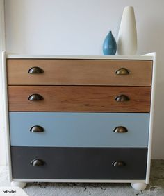 Rimu Tallboy / upcycled    Upcycled 4-drawer tallboy – custom refinish using Resene paint, Danish oil and antique style bronze pulls.