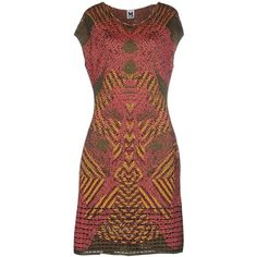 M Missoni Knee-length Dress ($355) ❤ liked on Polyvore featuring dresses, fuchsia, red metallic dress, m missoni, red dress, multicolored dress and lame dress