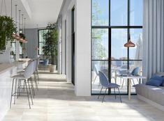 Bolzano White porcelain tiles look like white concrete tiles. Ideal for a range of interior design projects. Buy Bolzano White tiles or order a FREE sample. Concrete Paving, Paving Slabs, White Concrete, White Porcelain Tile, Outdoor Spaces, Outdoor Decor, White Tiles, Modern Interior Design, Room