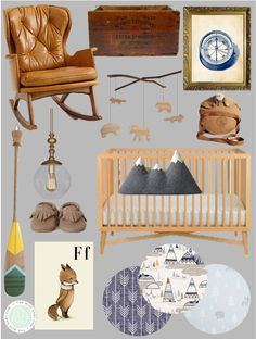 I love look of this explorer nursery, with it's rich earth tones,  hints of blue, and beautiful fabrics to pull this look together.   I imagine a little ba