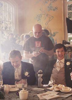 SHERLOCK (BBC) ~ Behind-the-scenes: Benedict Cumberbatch (Sherlock) and Martin Freeman (John) filming Season 3, Episode 2: The Sign of Three