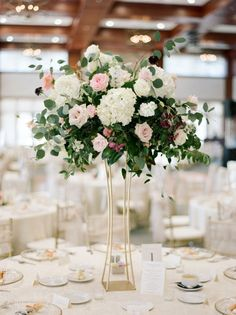 Wedding Flowers Tall Hydrangea and rose wedding centerpiece // gold modern vase, boho, industrial, loft wedding - This spring bride looks gorgeous in her long sleeve gown by Hayley Paige. Tall Wedding Centerpieces, Wedding Table Centerpieces, Floral Centerpieces, Floral Arrangements, Table Decorations, Centerpiece Ideas, Ceremony Decorations, Rose Gold Centerpiece, Quinceanera Centerpieces