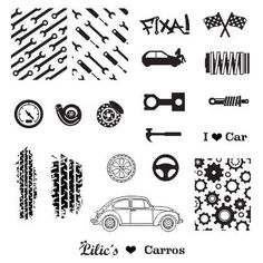 Lilic's stamping plate Carros full nail small cars