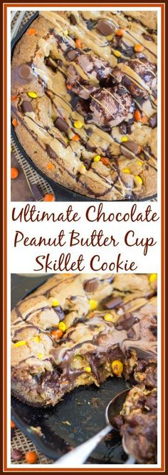 Peanut butter and chocolate come together in an ooey, gooey, soft, chewy, buttery, and brown-sugary skillet cookie perfection!