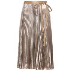 Valentino Pleated Velvet Skirt ($4,940) ❤ liked on Polyvore featuring skirts, beige, velvet skirt, valentino skirt, knee length pleated skirt, brown velvet skirt and pleated skirt