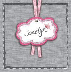Geboortekaartje Jocelyn  www.hetuilennestje.nl Linnen, lint, label, roze, grijs, vlinder.