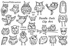 Cute Doodle Owl Clipart Clip Art, Black and White Doodle ...