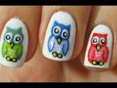 Colourful Owls Nail Art Tutorial