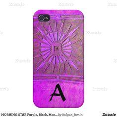 MORNING STAR Purple, Black, Monogram iPhone 4/4S Covers