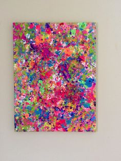 Splatter Neon Art Neon Painting Abstract Canvas Art by ResemblesMe
