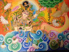The little mermaid Mysore Painting, Kalamkari Painting, Kerala Mural Painting, Tanjore Painting, Indian Traditional Paintings, Indian Art Paintings, Traditional Artwork, Mural Art, Murals