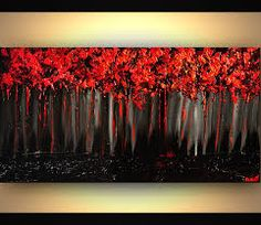 gray and red trees painting forest - Google Search