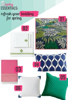 Spring Essentials: Refresh Your Bedding --> http://blog.hgtv.com/design/2015/04/08/refresh-your-bedding-for-spring/?soc=pinterest