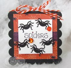 Spiders 3x3 Notecard by Joan Ervin #Cardmaking, #Halloween, #3x3Notecards, #LittleBitsDies