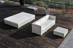 set divani da giardino componibili SUNSET  struttura in alluminio intreccio eseguito a mano in polyrattan
