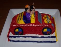 My daughter loved the Wiggles, so we made her a Wiggles Big Red Car Cake for her birthday. We used a Wilton Cruiser Pan to make the car. Wiggles Cake, The Wiggles, Cool Birthday Cakes, 3rd Birthday, 3 D, Cool Stuff, Desserts, 3 Year Olds, Tailgate Desserts