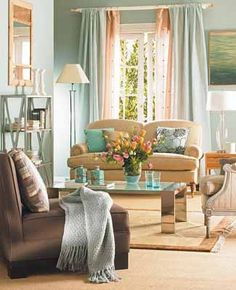 Pretty, bright living room- Decorative Fabrics and Textiles, 3 Color Schemes for Living Room Furnishings