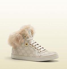 dec35db1fc35 coda fur-trim hi-top interlocking G sneaker Baskets Gucci
