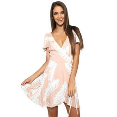 Charles Cooper Pink Feather Print V Neck Short Sleeve Side Tie Asymmetrical Mini Dress