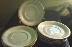 """Syracruse China """"Wayne"""" Plain Pattern Gold Encrusted Old Ivory Saucers x 10 #SyracuseChina"""