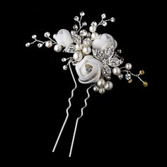 Organza Rose Bridal Hair Pin (White or Ivory)