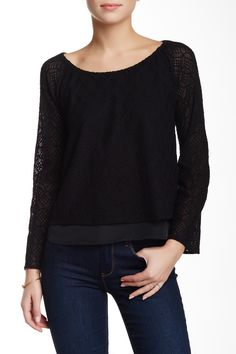 Madison Marcus | Knit Lace Overlay Blouse | Nordstrom Rack