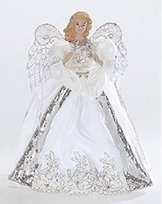 White and Silver Porcelain Angel with Bows Christmas Tree Topper 14 Ghost Of Christmas Past, Angel Christmas Tree Topper, Christmas Angels, Silver Christmas, Christmas Crafts, Christmas Decorations, Christmas Ideas, Plastic Canvas Christmas, Nutcracker Christmas