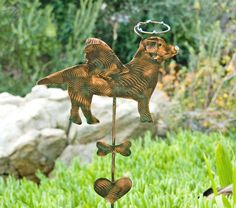 Labrador Retriever Pet Memorial Garden Stake / Metal Yard Art / Copper / Grave Marker / Dog Angel / Lawn Ornament / Plant Spike / Patina