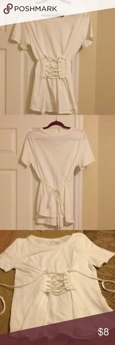 Corseted Tee Corseted front white t-shirt Alya Tops Tees - Short Sleeve