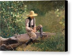 The Whittling Boy Canvas Print by Winslow Homer.  All canvas prints are professionally printed, assembled, and shipped within 3 - 4 business days and delivered ready-to-hang on your wall. Choose from multiple print sizes, border colors, and canvas materials.