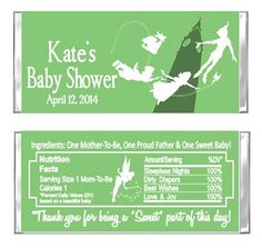 ersonalized Peter Pan Baby Shower OR Birthday Party Favors Hershey Candy Bar Wrappers by DannisCuteCreations