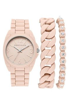 Anne Klein Silicone Bracelet Watch Set, 36mm | Nordstrom
