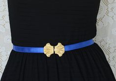 Statement Blue Waist Belt - Gold Buckle - Bridesmaids Belt - Stretch Maternity Belt - Party Dress Belt - Evening Dress Belt  Light belt made of elastic band in royal blue with a central gold plate element, that also functions as the belt's clasp, made of 24K gold plating.   The colors can perfectly upgrade your look , adding that extrra vintage-romantic touch! perefect as a bridesmaids accessory!  $26.00