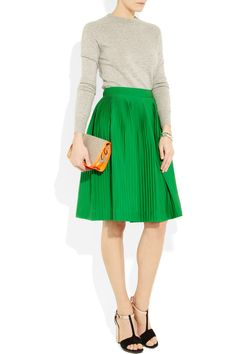 green skirt pleated knee length, & grey marle knit sweater - love the black and gold pumps too! A t-bar heel always darling