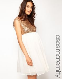 wanna wear this dress..... ASOS Maternity Skater Dress With Sequin T-Shirt