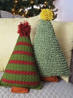 New Crochet Patterns - Two different designs made using worsted-weight yarn are quick and easy to crochet. This versatile pattern has so many options, you could crochet an entire forest! Size: Striped tree x Textured tree x Crochet Christmas Decorations, Crochet Christmas Trees, Christmas Crochet Patterns, Christmas Knitting, Cute Crochet, Crochet Crafts, Yarn Crafts, Crochet Projects, Crochet Tree