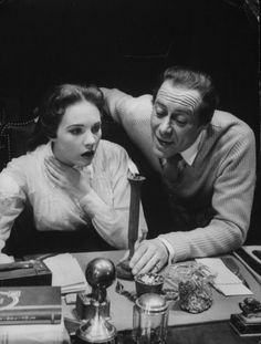 Rex Harrison and Julie Andrews run lines in My Fair Lady rehearsals, 1956. Though the stage musical helped launch Andrews' career, she was replaced in the big-screen version by Audrey Hepburn