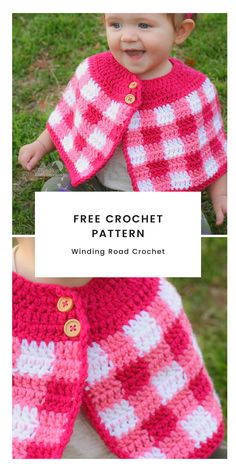 Crochet Cape Free Pattern - - The Crochet Plaid Cape is a beautiful accessory for any little girl. This free crochet pattern has a baby, toddler and girl size. Crochet Simple, Crochet Diy, Crochet Girls, Crochet Baby Clothes, Crochet For Kids, Crochet Blanket Patterns, Baby Blanket Crochet, Baby Patterns, Crochet Stitches